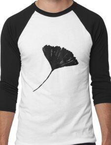 Ginkgo biloba, Lino cut nature inspired leaf pattern Men's Baseball ¾ T-Shirt