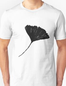 Ginkgo biloba, Lino cut nature inspired leaf pattern Unisex T-Shirt