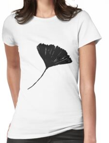 Ginkgo biloba, Lino cut nature inspired leaf pattern Womens Fitted T-Shirt