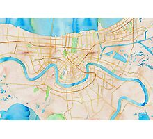 Watercolor map of New Orleans Photographic Print
