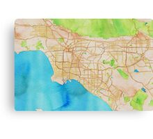 Watercolor map of Los Angeles Canvas Print