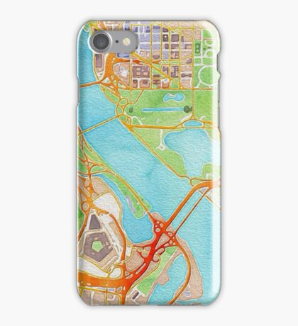 Watercolor map of Washington city center iPhone Case/Skin