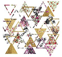 Chic Floral Gold Marble Geometric Triangles Photographic Print