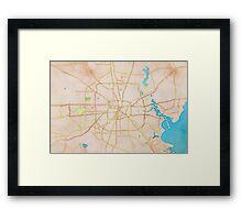 Watercolor map of Houston metropolitan area Framed Print