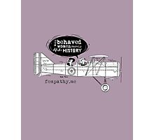 Retro lady in biplane, vintage violet, purple wine, airplane Photographic Print