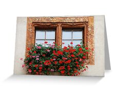 Window with flowers in Naters - Switzerland Greeting Card