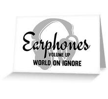 Music Lovers Earphones Funny Text Design Greeting Card