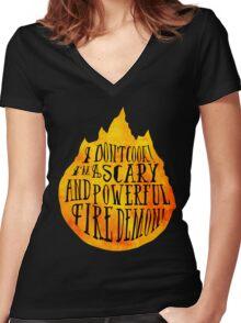 Fire Demon  Women's Fitted V-Neck T-Shirt