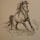 Wild - Horse ink wash watercolor painting by Rebecca Rees