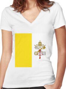 Vatican City Flag Women's Fitted V-Neck T-Shirt