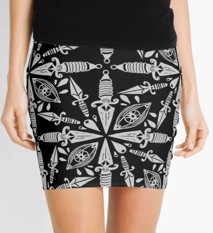 Sketchy traditional daggers and eyes in black and white Mini Skirt