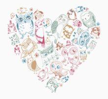 Hand drawn Owls One Piece - Long Sleeve