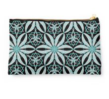 Black,white and teal abstract geometric pattern  Studio Pouch