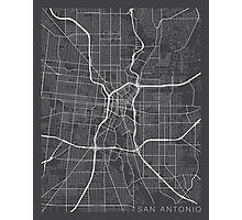 San Antonio Map, USA - Gray Photographic Print
