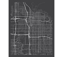 Salt Lake City Map, USA - Gray Photographic Print