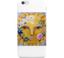 Flower Power celestial shabby chic sun face with roses iPhone Case/Skin