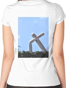 RECIFE BRAZIL THE TILTED CROSS Women's Fitted Scoop T-Shirt