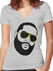Badly Drawn Rick Ross Women's Fitted V-Neck T-Shirt