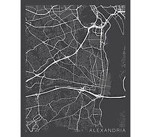 Alexandria Map, USA - Gray Photographic Print