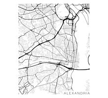 Alexandria Map, USA - Black and White Photographic Print