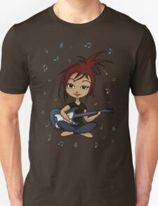 Guitar Chick (version 1, with music notes) Unisex T-Shirt