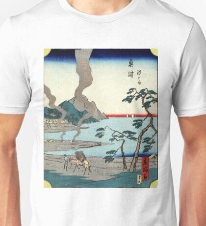 Okitsu - Hiroshige Utagawa - 1861 - woodcut Unisex T-Shirt