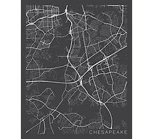 Chesapeake Map, USA - Gray Photographic Print