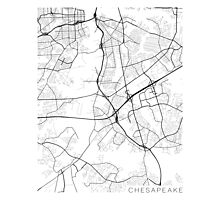 Chesapeake Map, USA - Black and White Photographic Print