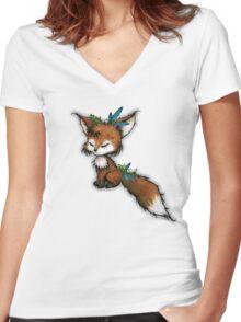 Spirit Fox - Totem Animal  Women's Fitted V-Neck T-Shirt