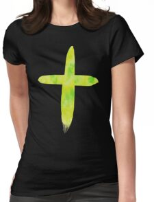 Lime Watercolor Cross Womens Fitted T-Shirt
