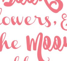 books, flowers and the moon - in pink Sticker
