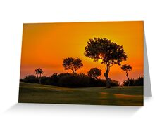 Sunset on the 9th fairway at Aphrodite Hills Greeting Card