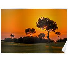Sunset on the 9th fairway at Aphrodite Hills Poster