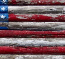 Distressed Wooden American Flag - Fire Island, NY Sticker