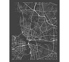 Norfolk Map, USA - Gray Photographic Print