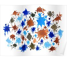 Abstract 12 blue brown splash Poster