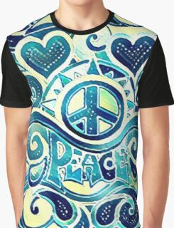 Peace and Love Retro Art Graphic T-Shirt