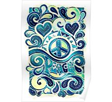 Peace and Love Retro Art Poster