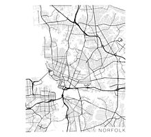Norfolk Map, USA - Black and White Photographic Print