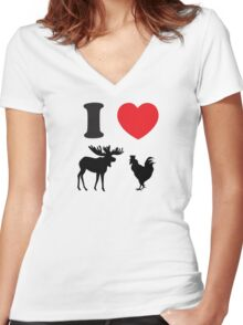 I Heart Moose Cock Women's Fitted V-Neck T-Shirt
