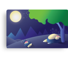 Pokemon Sleep Time - Munchlax and Snorlax Canvas Print