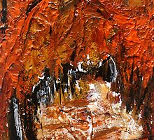 Fall Trees Autumn Reds Contemporary Acrylic Painting Part 2 by JamesPeart