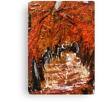 Fall Trees Autumn Reds Contemporary Acrylic Painting Part 2 Canvas Print