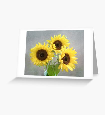 Three Bright Sunflowers Still Life Greeting Card