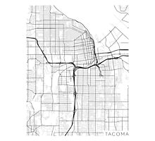 Tacoma Map, USA - Black and White Photographic Print