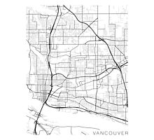 Vancouver Map, USA - Black and White Photographic Print