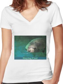 Staying Cool Women's Fitted V-Neck T-Shirt