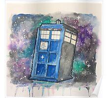 Watercolor Galaxy TARDIS Poster