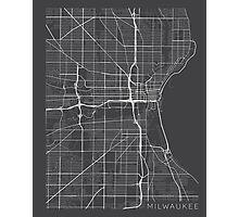 Milwaukee Map, USA - Gray Photographic Print