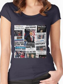 Obama 2008 Commemorative Front Pages Women's Fitted Scoop T-Shirt